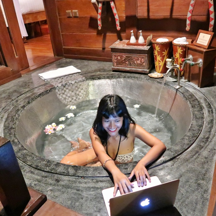 Working in a bathtub Hotel Tugu Bali