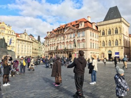 Blowing bubbles at Old Town Square, Prague, Czech Republic!