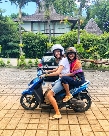 Me and Edvinas riding a motorbike in Bali!